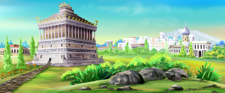 mausoleum: mausoleum of halicarnassus illustration