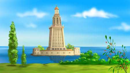 alexandria egypt: lighthouse of alexandria illustration