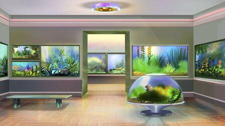 interior of pet shop with aquariums.