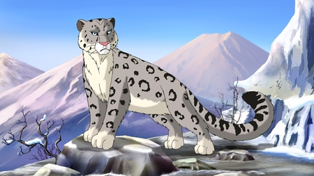 snow leopard: Snow Leopard in the Asian mountains Stock Photo