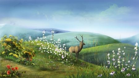 idyll: Deer in the Hills Stock Photo