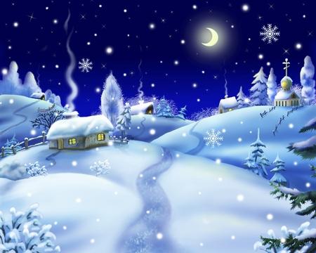 winter night: Winter Night in a Village