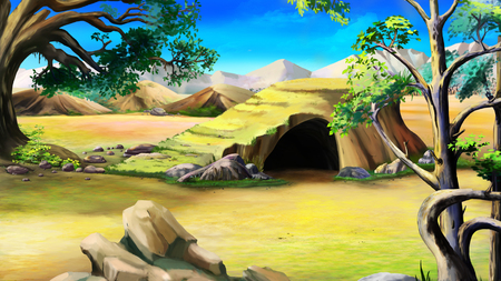 Digital painting of the Stone Cave in the African Bush at Day