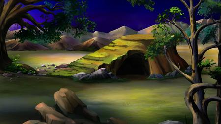 digital painting: Digital painting of the African Savannah at  night with stone rock and acacia tree. Panorama.