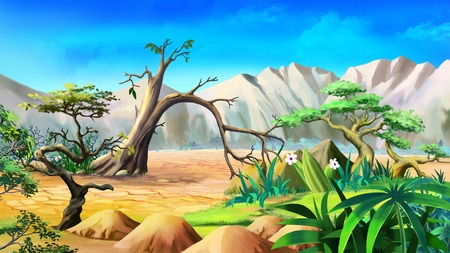 lonely tree: Digital painting of the African Savannah in a summer day with lonely tree and mountains on background.