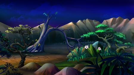 savannah: Digital painting of the African Savannah in a summer night with lonely tree and mountains on background.