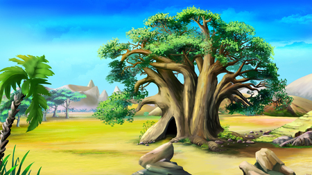 Digital painting of the African baobab in a summer day. Imagens