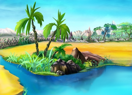 digital painting: Digital painting of the two palm trees in a summer day. Small palm lake oasis.