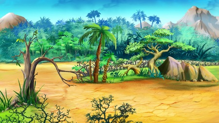 Digital painting of the African bush in a summer day.
