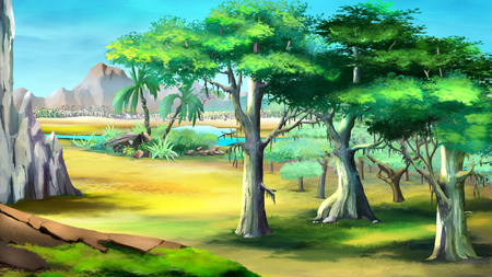 Digital painting of the acacia trees in a African summer day with mountains on background.