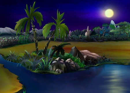 digital painting: Digital painting of the African Bush in a summer night with stone rock. Panorama.