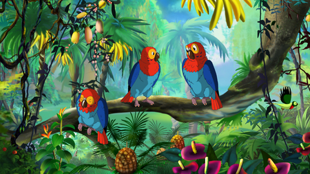 macaw: Macaw (Ara). Digital painting  full color illustration.