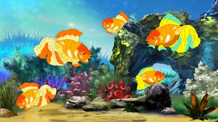 fish tank: Goldfish in a Fish tank. Digital painting  full color illustration. Stock Photo