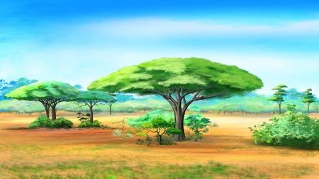 Pintura digital de las acacias en la selva africana