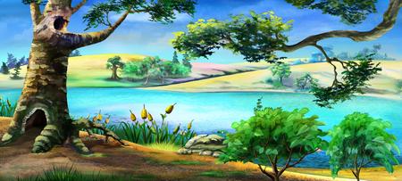 川の土手に大きな古い木のデジタル絵画は。明るく青い空と夏の日。