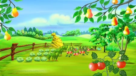 Het digitale schilderen van het Landschap met moestuin.