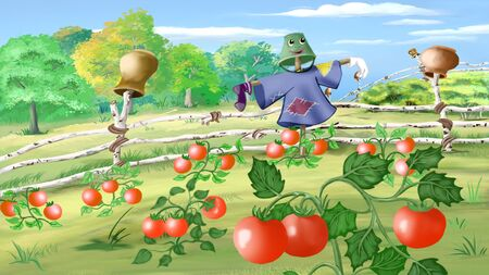 kitchen garden: Digital painting of the Rural landscape with Scarecrow in a Kitchen Garden.