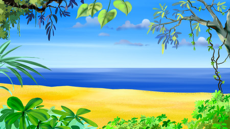 idyllic: Digital painting of the Tropical Beach. Idyllic sea view Stock Photo