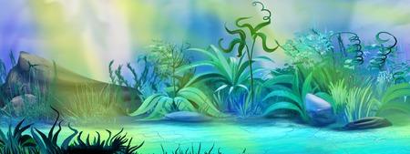 digital painting: Digital painting of the Underwater Plants in a ocean. Stock Photo