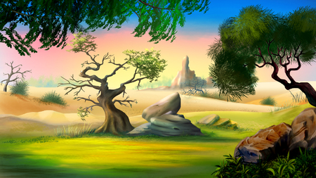 big and small: Digital painting of the African Savanna in a summer day with small tree and big rock. Stock Photo