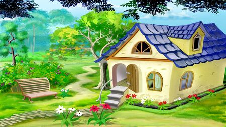 digital painting: Digital painting of the Village Garden House in a summer day. Rural landscape.