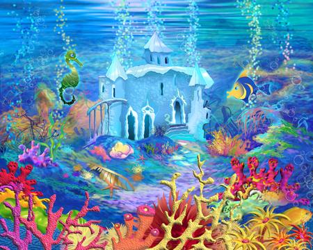 Digitale Malerei, Illustration eines Mysteus und Fantasie Unterwasserwelt. Fantastische Cartoon-Stil Charakter, Märchengeschichte Hintergrund, Card Design