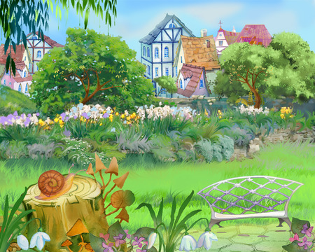 Digital Painting, Illustration of a Colorful Fairy Tale Park in the City. Cartoon Style Artwork Scene, Story Background, Card Design