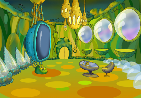 futuristic interior: Digital Painting, Illustration of a Spaceship Cabin Futuristic Interior Cartoon of Cosmic Spacecraft in SciFi Galaxy. Fantastic Cartoon Style Character, Fairy Tale  Story Background, Card Design. Stock Photo