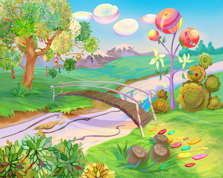 Digital Painting, Illustration of a Exotic Dreamland. Fantastic Cartoon Style Character, Fairy Tale Story Background, Card Design