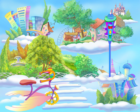fantastic world: Digital Painting, Illustration of a Fairy Tale World with Floating Islands in the Sky.  Fantastic Cartoon Style Artwork Scene, Story Background, Card Design