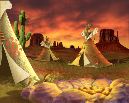 a group of tepees, Traditional Houses of Native Americans in Realistic Cartoon Style. Stock Photo