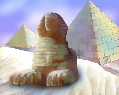 sphinx: Pyramids And Sphinx in Realistic Cartoon Style