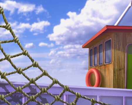 fishnet: Wooden deck of a ship with fishnet in Realistic Cartoon Style