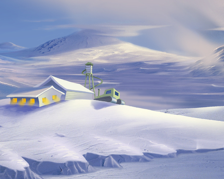 antarctica: Polar Research Station in Antarctica in Realistic Cartoon Style