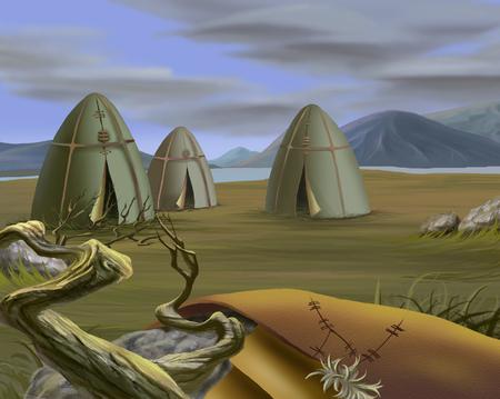 tundra: Traditional Tent in Tundra, Yurt. Realistic Cartoon Style
