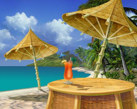リアルな漫画のスタイルの熱帯ビーチで夏の飲み物