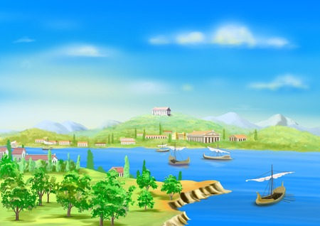 nile: the ancient city in Egypt, on the banks of the Nile River in Realistic Cartoon Style Stock Photo