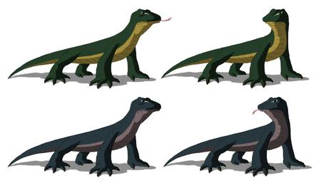 Komodo dragon (Varanus komodoensis). Digital painting full color cartoon style illustration isolated on white background.