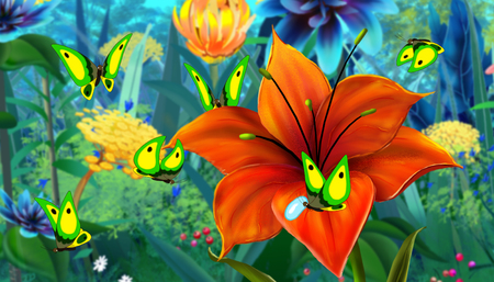 green butterfly: Green  Butterfly Flew on a Flower. Digital painting  cartoon style full color illustration. Stock Photo
