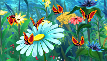 field flowers: Red  Butterfly Flew on a Flower. Digital painting  cartoon style full color illustration.