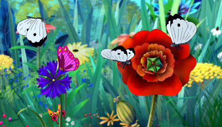 flew: White  Butterfly Flew on a Flower. Digital painting  cartoon style full color illustration. Stock Photo