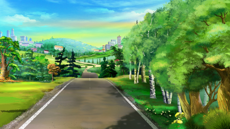 forest path: Digital Painting, Illustration of a path near the forest in Realistic Cartoon Style