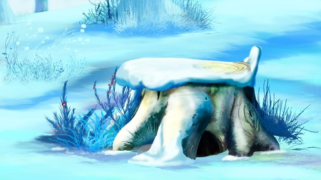 digital painting: Digital Painting, Illustration of Big Tree Stump in Winter Snow in Realistic Cartoon Style