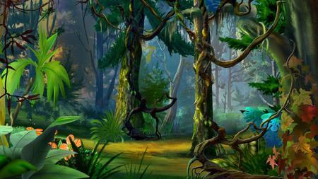Camino de bosque oculta en verano. digital de la pintura, la ilustración en estilo de dibujos animados realista