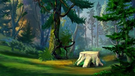 リアルな漫画のスタイルのトウヒ林における断端にデジタル絵画、古い木のイラスト 写真素材