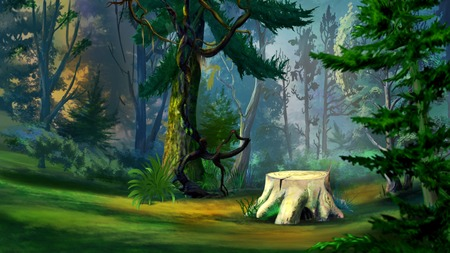 Digital Painting, Illustration of a old tree stump in the spruce forest in Realistic Cartoon Style Stock Photo