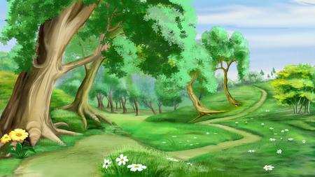 디지털 회화, 현실적인 만화 스타일의 숲 근처 경로의 그림 스톡 콘텐츠