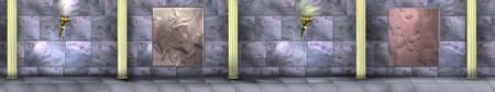 digital painting: Digital Painting, Illustration of the Ancient maze with marble walls, torches and columns. Realistic Cartoon Style Character, Fairy Tale Story Background.  Panorama view.