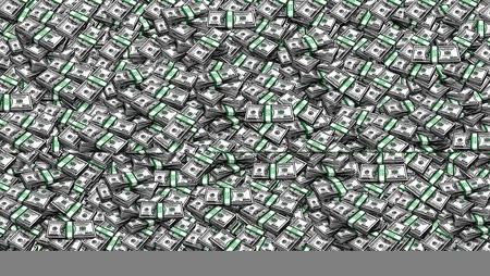 hundred: Packs of One Hundred Dollars as Background. Digital painting, illustration, collage of hundred USA dollar bills piled Stock Photo