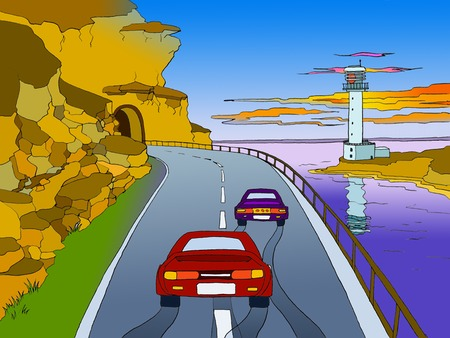 panorama view: Two Cars Driving Through Mountain Tunnel Near the Sea with Lighthouse on background. Cartoon Style Character, Fairy Tale Story Background. Panorama view.